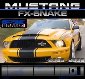 "2005 - 2009 Ford Mustang 18"" Snake Style Super Kit #1 in Dealer Quality Stripes"