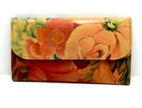 Argentina Handmade Womens Leather Wallet Purse with Magnetic Closure Floral
