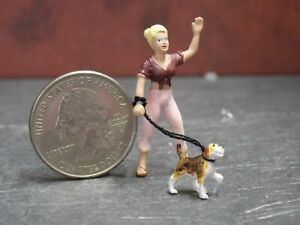 Dollhouse Miniature Dog & Woman Animals A21 1:48 Quarter Scale Dollys Gallery