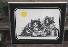 VTG 70's Kitten Cat Print in Reverse Glass Frame Signed Gilpin ArtWork William C