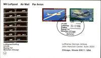 LUFTHANSA Erstflug 1st flight Boeing 747 München - Chicago, Flugzeug Jugendmarke