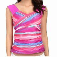 Athena Womens Swimwear Pink Size 10 Bermuda Sunrise Surplice Tankini Top $58 291