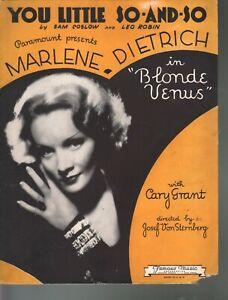 You Little So and So 1932 Marlene Dietrich Blonde Venus Sheet Music