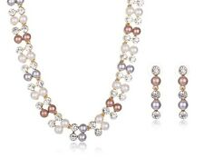 Simulated 3 Colour Pearl Necklace Earrings Set, Party, Wedding, Gift, Bridesmaid