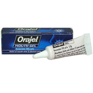 Orajel Mouth Ulcer Gel Denture Pain Relief Treatment Benzocaine 10% - Multi Pack
