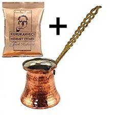 Turkish Handmade Copper Coffee Pot Ibrik Kettle Jazzva Briki Cezve +100g Coffee