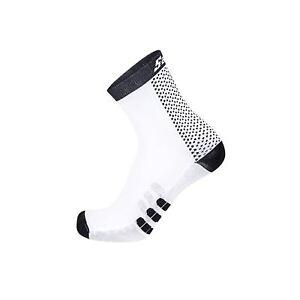 Cycling Socks Santini Two Medium Profile Qskin Sock Black XS/Small Breathable