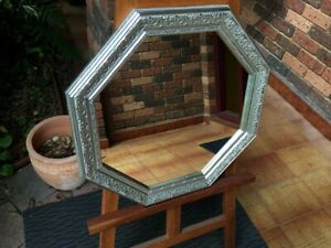 Octagonal Wall Mirror Ornate Antique Look Aged Silver Wood Frame 56x56cm