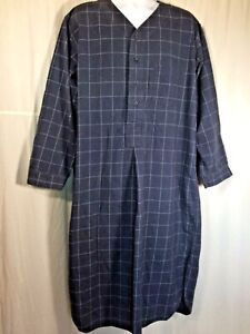 Brooks Brothers blue Mens sleep night shirt 100% cotton flannel L placket Plaid
