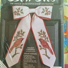 Cardinals Cross Stitch Bow Ties Holiday  kit Door winter 11x17 LeClair 08112
