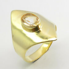 Citrine Ring # 5.75 Wedding Fashion Yellow Gold Plated 925 Solid Sterling Silver