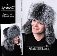 Silver Fox fur hat from Russia, natural leather black top, Hand-made Ushanka NEW