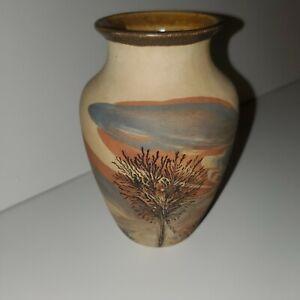 "Sevierville  Pottery TN 1986 Art Potteey 6"" Vase Blue Pink Brown Tree"
