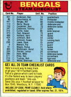 1974 Topps Team Checklists #5 Cincinnati Bengals - VG