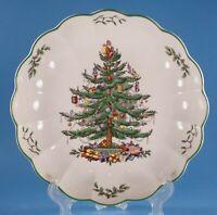 "Spode Christmas Tree Green Scalloped Bowl 9 7/8"" England"