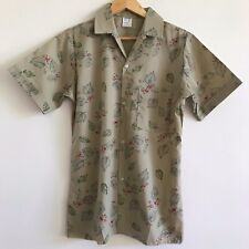 mens vintage khaki christmas 80s 90s button shirt short sleeve red berry holly