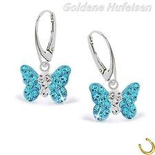 Aquamarin Kristall Schmetterling Brisur Ohrringe 925 Echt Silber Kinder