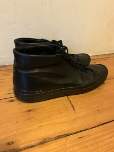 Common Projects Original Achilles Mid Black Leather Sneaker - size 43