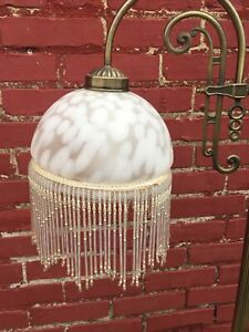 Vintage Brass Floor Lamp Victorian Swing Arm Style Beaded Glass Shade Tall Works