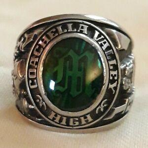 """1983 Coachella Valley High """"Arabs"""" Class Ring HJ ULT Herff Jones Green Size 8"""