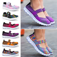Women Lady Slip On Elastic Flat Shoes Summer Breathable Casual Sandals
