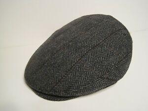 CHRISTYS of LONDON italian Wool HERRINGBONE grey driving Cap Hat MEDIUM