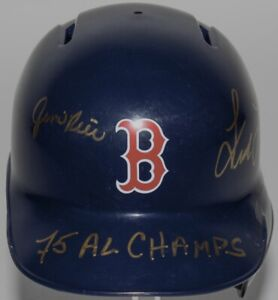 "Autographed Fred Lynn & Jim Rice Red Sox Mini-Helmet W ""75 AL Champs"" (BAS/COA)"