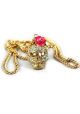 Damas Niñas rosa Rosa Diamante Collar Cadena de Color Oro Cristal Skull