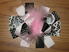 "NEW ""PINK LEOPARD Black"" Fur Hairbow Alligator Clips Girls Ribbon Bows 5 Inches"
