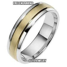 6MM WIDE MENS 10K TWO TONE GOLD WEDDING BANDS