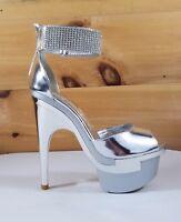 Mona Mia Rhinestone Cuff Contoured Heel Platform Shoe Silver Villadora 5-11
