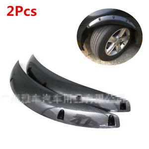 2Pcs Carbon Fiber Look Car Fender Flares Mud Flaps Splash Guards Wheel Eyebrow