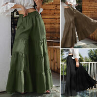 ZANZEA Womens Casual Wide Legs Long Pants Solid Loose Bootcut Culottes Trousers