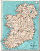1942 Antique IRELAND Map Original Vintage Map of Ireland Gallery Wall Art 8210