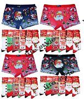 Men`s Xmas Boxer Shorts Underwear Brief Santa Christmas Novelty Socks Gift Pack