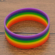 Rainbow Silicone Cuff Wristband Bangle Lesbian Gay Pride LGBT Birthday Gifts New