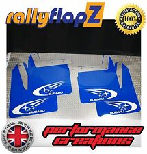 Qty4 Mud Flaps & Fixings SUBARU IMPREZA New Age 01-07 4mm PVC Blue Swoosh White