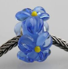 1pcs Big Flowers MURANO GLASS BEAD LAMPWORK Fit European Charm Bracelet QH005