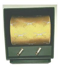 Soprano Clay Pigeon Shooting Tie with shotgun cartridge cufflinks in a gift box