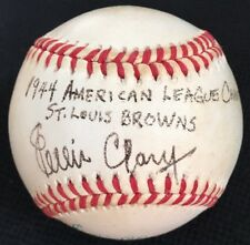 "RARE Ellis ""Cat"" Clary dec.2000 JSA LOA Signed 4x Baseball 1944 St. Louis Browns"