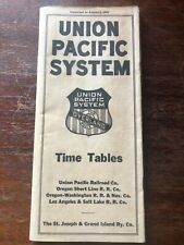 Vintage Union Pacific System Public Timetable Dated August 1926