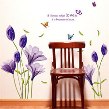 DIY Purple Lily Flower Wall Stickers Decorative Removable Waterproof Sticke XE