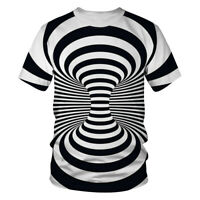3D T Shirt Men Women Hypnosis Swirl Print Short Sleeve Tee Hipster Casual Tops