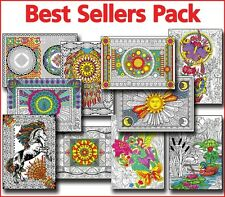 Line Art Coloring Posters - 10x14 Inch Best Sellers 10-Pack