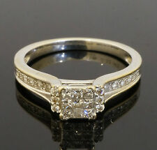 18ct White Gold Diamond Cluster Solitaire W/ Accents TCW 0.33 Ring (Size M 1/2)