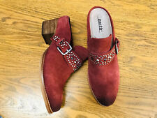 Earth Denton suede burgundy studded buckle heeled slide mule shoes NWOB size 7.5
