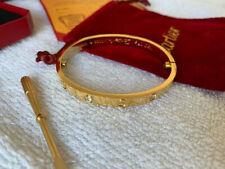 New 18K Yellow gold love bracelet 4 diamonds Size 19