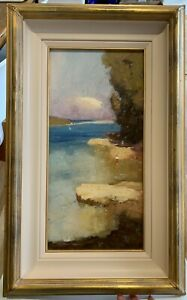 Colley Whisson original oil painting Rocky Shoreline, Cremorne NSW