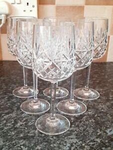 "Set 6 Edinburgh Crystal ""BERKELEY"" Wine Glasses - 18.8cms 7-3/8"" All Perfect"