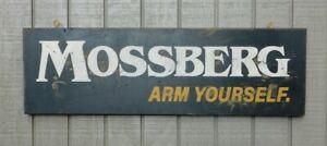 PRIMITIVE VINTAGE MOSSBERG ARM YOURSELF GUN REPLICA TRADE SIGN